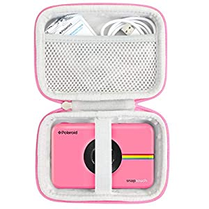 Khanka Duro Viaje Estuche Bolso Funda para Polaroid Snap/Snap Touch 2.0 Touch Cámara Digital (Cremallera Rosa)