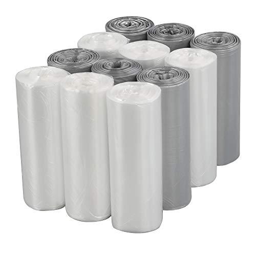 Sandmovie 5 litros Transparente y Gris Saco de Basura, 12 Rollos, 300 Bolsas
