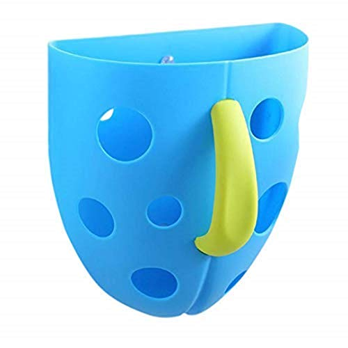 Fun Baby Bath Toy Organizer/Storage, Holds Lots of Tub Toys for Kids, Delights Children, Scoop, Rinse and Drain, Bathtub Toy Holders, 2 Suction Cups and Self Sticking Hook - Blue