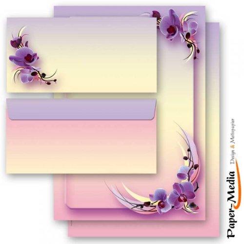 40 pezzi Set completo ROSA BIANCA 20 fogli di carta da lettera e 20 buste DIN LANG senza finestra