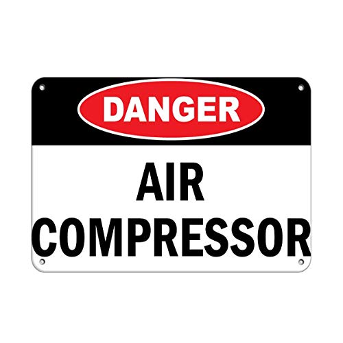 "Metal Parking Signs 12""X16""Danger Air Compressor,Retro Iron Painting Metal Poster Warning Plaque Art Decor for Garage Home Garden Store Bar Cafeacute"