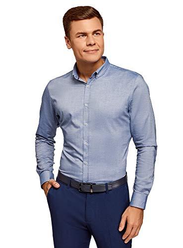 oodji Ultra Herren Langarm-Hemd Slim Fit, Blau, Herstellergröße 41 (Kragenweite 41 cm)/ DE 50 / M
