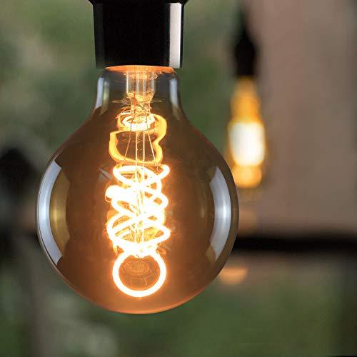3x LED Edison Glühbirne, GBLY Retro Kugel Glühlampe 4W, G80 Dekorative Globelampen, Warmweiß 2200K LED Filament Birne für Nostalgie und Retro Beleuchtung im Haus Café Bar Restaurant, Nicht Dimmbar