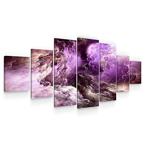 Startonight Leinwandbilder Großformatige Kunst Violet abstrakt, Doppelansicht Modernes Dekor Gerahmte Kunstwerk 100% Ursprünglich Fertig zum Aufhängen XXL 7 teile 100 x 240 CM