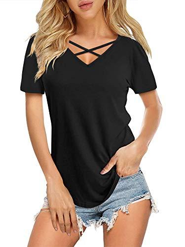 Women's V Neck T Shirt Short Sleeve Summer Loose Casual Tops