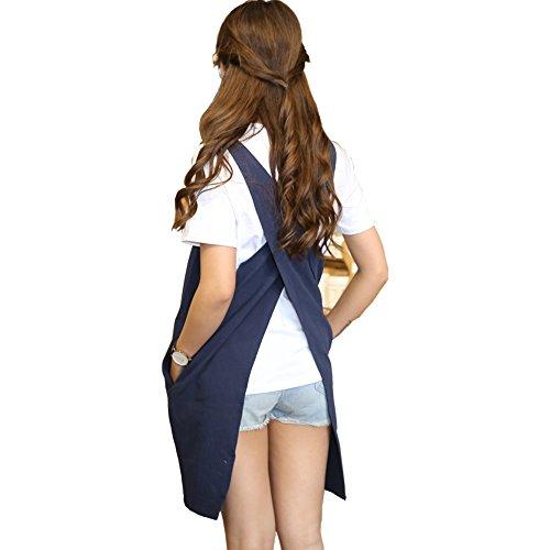 weiche Baumwolle Leinen Schürze Farbe Halfter Kreuz Bandage Schürzen japanischen Stil, X Form Küche Kochen Kleidung Geschenk für Frauen Chef Einzugs marineblau