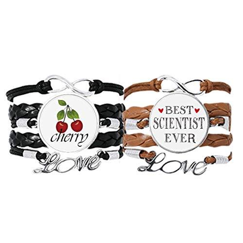 Best Scientist Ever Zitat Beruf Armband Handschlaufe Leder Seil Cherry Love Armband Doppelset