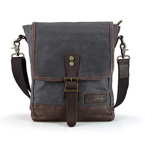 SHANGRI-LA - Bolso bandolera de lona encerada impermeable para hombre y mujer, bolso bandolera para iPad, tableta, Kindle, laptop/EDC