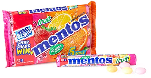 Mentos – Fruit – 1 Pakje van 5 Rollen – Snoepbroodje – Fruitmix (Aardbei, Appel, Sinaasappel en Citroen) – Verpakt op…