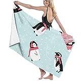 Yuanmeiju 32 X 52 Inch High Absorbency Bath Towel Penguin Blog Scarf Lightweight Large Bath Sheet for Beach Home SPA Pool Gym Travel