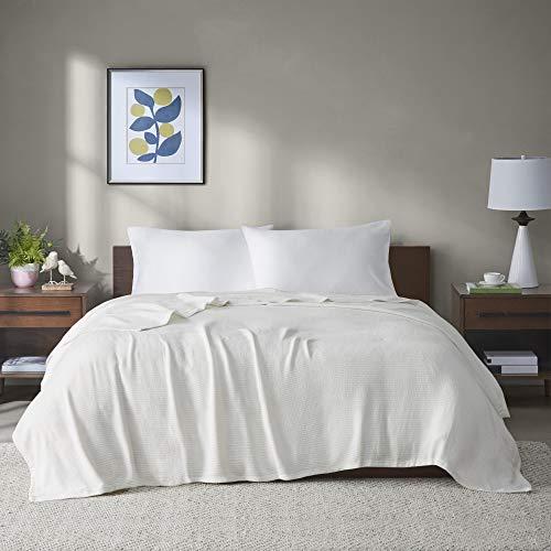 Madison Park Freshspun Basketweave Premium Soft Cozy Luxury Cotton Blanket For Bed, Couch or Sofa, King, Cream