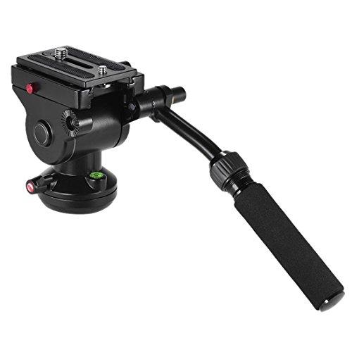 Statief aluminiumlegering zware videocamera statief actie fluid drag kop met glijplaat voor DSLR & SLR camera's (zwart), zwart