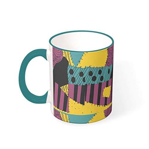 OwlOwlfan Sally Patchwork Nightmare Before Christmas - Taza de cerámica de colores para Halloween, taza de café divertida, taza de té con asa para cafetería bar para mujeres y hombres, 330 ml