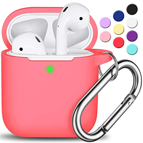 AirPods Case Cover with Keychain, Full Protective Silicone AirPods Accessories Skin Cover for Women Girl with Apple AirPods Wireless Charging Case,Front LED Visible-Pink Peach
