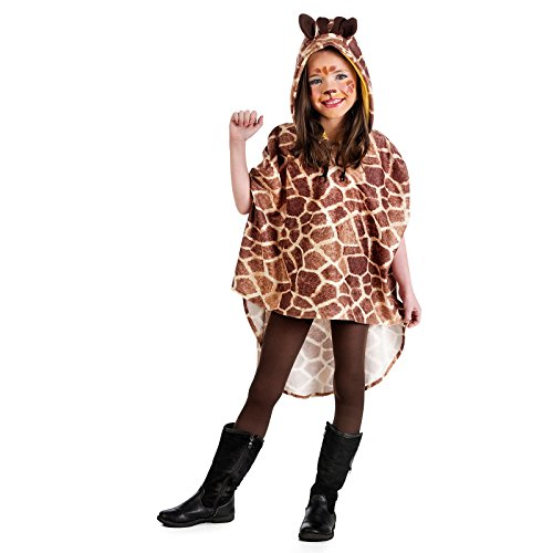 Elbenwald Giraffe Poncho Tier Kinder Kostüm beige braun mit Kapuze - 3/5 Jahre
