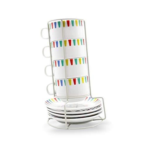 takestop Juego de 4 tazas de porcelana multicolor con soporte, 10,5 x 8 x 6 cm, para casa o cocina