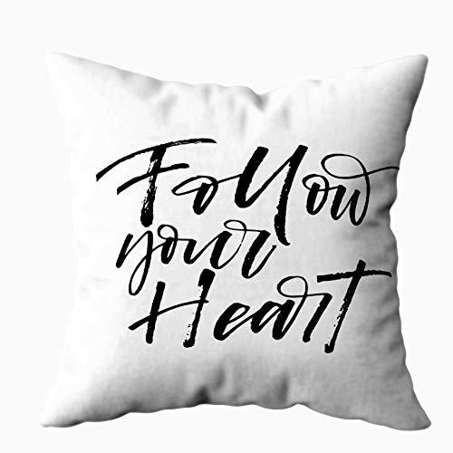 Fodere per cuscini Morbido divano di casa Fodere per cuscini decorativi Douecilsh Frase del cuore Giorno Inchiostro Calligrafia moderna Isolato Sfondo bianco Valentine39S Doppia stampa, Bianco Giallo