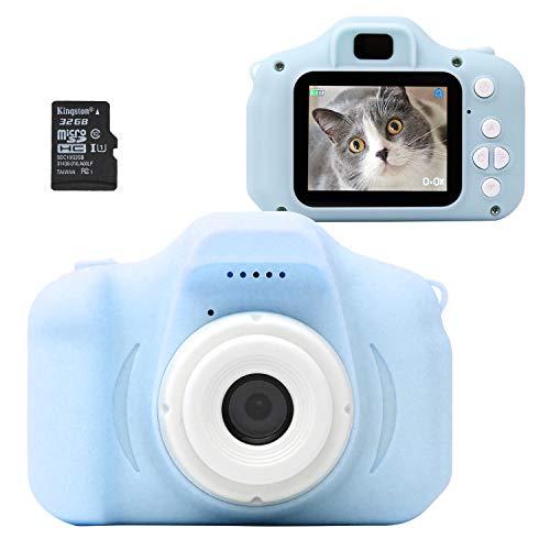 MRG キッズカメラ 子供用デジタルカメラ 1080p 高画質動画 95g トイカメラ カメラ 32G SDカード付き 写真 動画 ゲーム内蔵 ストラップ付き おもちゃ プレゼント ギフト (ブルー)