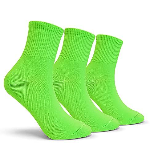 CUTIE MANGO Women's Colorful Neon Crew Socks Sports Vivid Color Crazy Fun (3 Pairs_Neon Green)