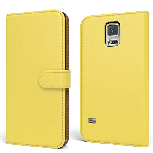 EAZY CASE Tasche kompatibel mit Samsung Galaxy S5/LTE+/Duos/Neo Schutzhülle mit Standfunktion Klapphülle Bookstyle, Handytasche Handyhülle mit Magnetverschluss & Kartenfach, Kunstleder, Gelb