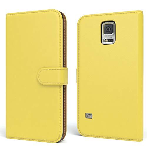 EAZY CASE Tasche für Samsung Galaxy S5/LTE+/Duos/Neo Schutzhülle mit Standfunktion Klapphülle im Bookstyle, Handytasche Handyhülle Flip Cover mit Magnetverschluss & Kartenfach, Kunstleder, Gelb