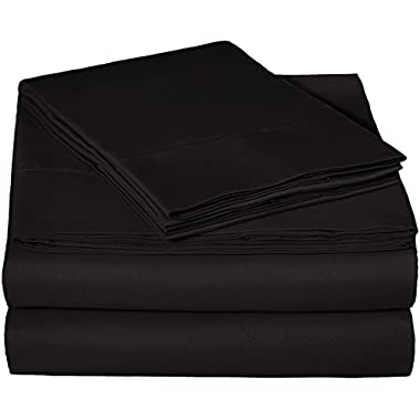 AmazonBasics Microfiber Sheet Set - Queen, Black