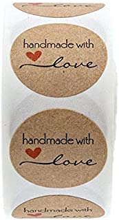 SOLDOUT™ 500 PCS Handmade With Love Craft Paper Stickers Round Adhesive Labels Baking Wedding Decoration Party Decoration ...