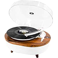 M Music Public Kingdom Vintage 2-Speed Bluetooth Turntable with Built-in Stereo Speaker