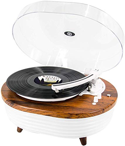Record Player, Vintage 2-Speed Bluetooth Turntable with Built-in Stereo...