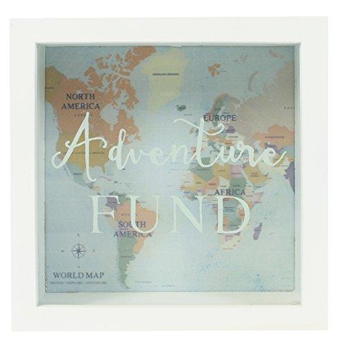 Jones Home and Gift Bilderrahmen-Spardose Adventure Fund, zum Sparen für (Abenteuer-) Reisen, Weiß