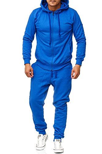 Violento Herren Jogginganzug- Unifarben (XL, Blau)