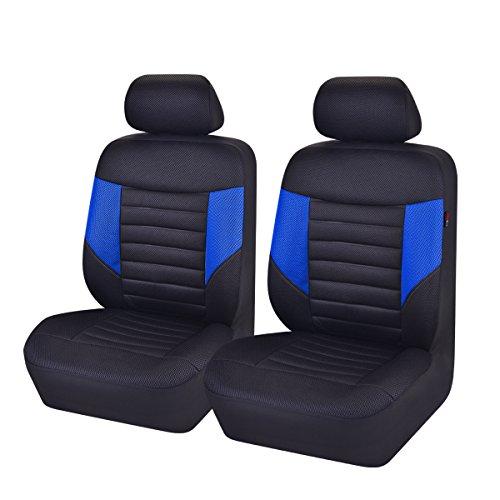 CAR PASS 6pcs super – Juego de fundas para asientos delanteros Automóvil Universal package-fit para vehículos, negro y gris con Composite Esponja interior, Airbag compatible