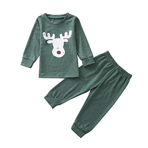 FeiliandaJJ Baby Mädchen Jungen Schlafanzug Set Langarm Weihnachten Elch Drucken Zweiteiliger Schlafanzüge Kinder Pyjama Set Nachtwäsche 92 98 104 110 116 122 (Grün, 70 (3-6 Monate))