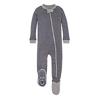 Burt s Bees Baby baby boys Unisex Pajamas Zip-front Non-slip Footed Pjs Organic Cotton and Toddler Sleepers Midnight Stripe 24 Months US