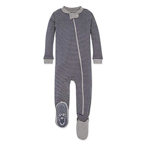 Burt's Bees Baby baby boys Unisex Pajamas, Zip-front Non-slip Footed Pjs, Organic Cotton and Toddler Sleepers, Midnight Stripe, 24 Months US