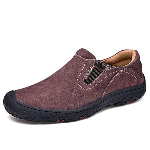 Zapatos casuales Oversoles casuales para hombres, tablero de revestimiento elástico de la costura de la punta redonda, suela de goma gruesa y zapatos planos de cuero artificial