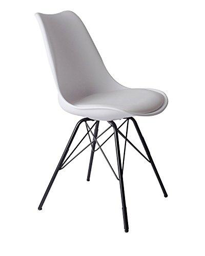 SAM Schalenstuhl Lerche, weiß, integriertes Kunstleder-Sitzkissen, Schwarze Metallfüße, Esszimmerstuhl im skandinavischen Stil
