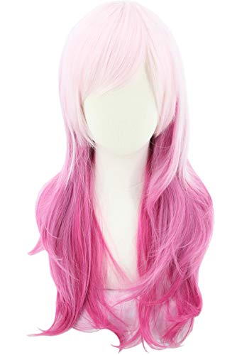 Topcosplay Pink Red Wig for Kid GIrls Gradient Long Wavy Anime Cosplay...