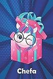 Chefa: Cuaderno de notas unicornio para niña con nombre personalizado Chefa y diseño de kawaii cuaderno unicornio , regalo de cumpleaños y navidad o san valentín - 110 paginas.
