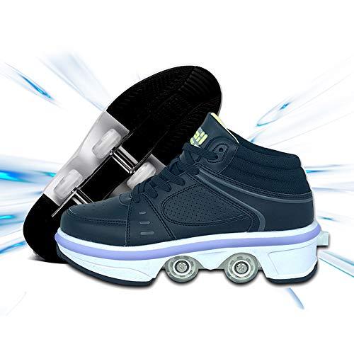 DLBJ Multifuncional Deformado Zapatos 2 En 1 Patines Botas De Patines De 4 Ruedas LED Luces Zapatos con Ruedas para Niños Y Niña Aire Libre,38