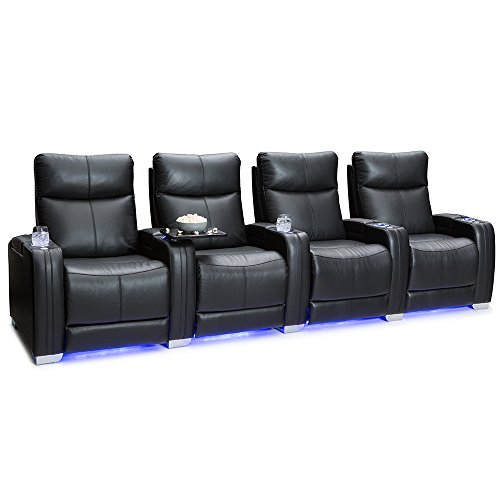 Seatcraft Solstice Home Theater Seating - Top Grain Leather - Power Recline - Power Lumbar - Power Headrest - USB Charging - in-Arm Storage - Lighted Cupholders and Baselighting (Row of 4, Black)