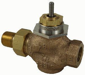 """Schneider Electric VB-7211-0-4-08 Series Vb-7000 Two-Way Globe Valve Body, Union Straight Pipe End Connection, Stem Up Open, Brass Plug, 1"""" Port Size by Schneider Electric Buildings"""