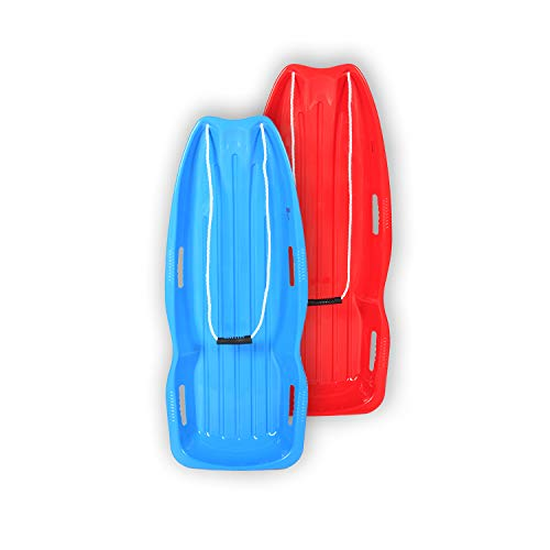 BOOWAY Toboggan Snow Sled 48in with Pull Rope and 4 Handles, Outdoor Plastic Snow Sled for Kids and Adults - 2 Pack