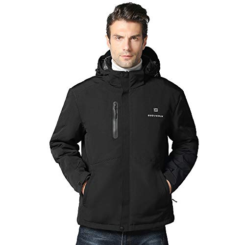 [2019 Upgrade] Men's Heated Jacket with Battery Pack, Heated Coat with Detachable Hood and Waterproof& Windproof Black