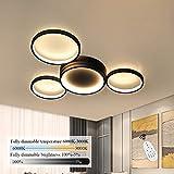 ZMH LED Deckenlampe Modern 4 Flammig in Ring-Design Deckenleuchte dimmbar mit Fernbedienung 52W Innen Wohnzimmerlampe aus Aluminium in Farbe schwarz für Schlafzimmer Wohnzimmer Flur Büro Arbeitszimmer