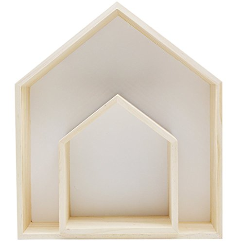 IKENOKOIウォールシェルフ 壁掛け棚 飾り棚 木製 DIY収納 インテリア 北欧風 2個セット(ホワイト)