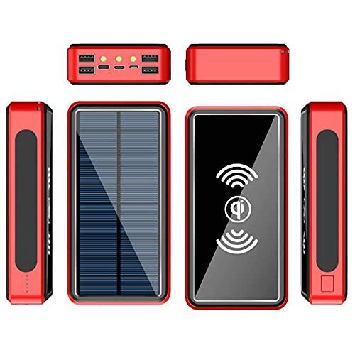 Tcbz Cargador portátil inalámbrico Qi Power Bank Cargador Solar 26800Mah, con 4 Salidas y Linterna LED, USB C Cargador de teléfono Impermeable de Carga rápida para iPhone, iPad, Samsung