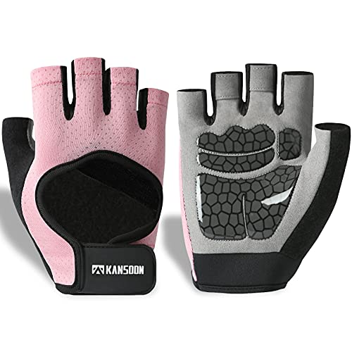 KANSOON Ecotechnology Workout Gloves, Best Exercise Gloves for Weight Lifting, Cycling, Gym, Training, Powerlifting, Hanging, Breathable & Fingerless Gloves, for Men & Women (Medium, Pink)