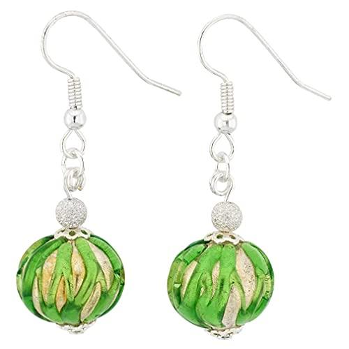 GlassOfVenice - Pendientes de bola de cristal de Murano, color verde real
