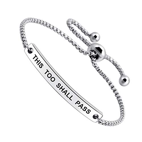 InspirationalTHIS TOO SHALL PASS Engraved Positive Mantra Message Thin Bangle Bracelet